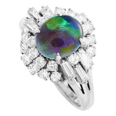 LB Exclusive Platinum 0.95 Carat Diamond and Opal Ring
