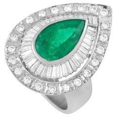 LB Exclusive Platinum 0.95 Ct Diamond and Emerald Ring