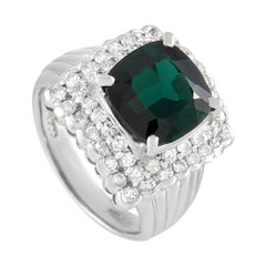LB Exclusive Platinum 0.98 Ct Diamond and Tourmaline Ring