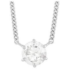 LB Exclusive Platinum 1.01 Ct Diamond Pendant Necklace