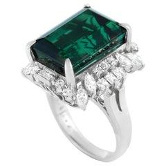 LB Exclusive Platinum 1.05 Carat Diamond and Green Tourmaline Large Ring