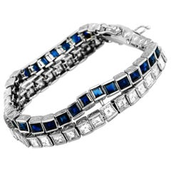 LB Exclusive Platinum 10.72 Carat Diamond and 13.50 Carat Sapphire Bracelet