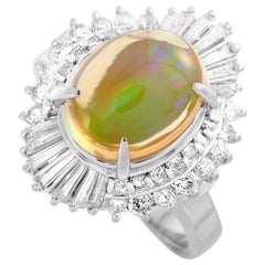 LB Exclusive Platinum 1.08 Carat Diamond and Opal Marquise Ring