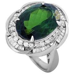 LB Exclusive Platinum 1.10 Carat Diamond and Tourmaline Ring