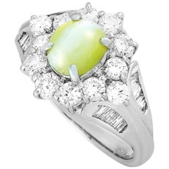 LB Exclusive Platinum 1.10 Carat Diamond and Cat's Eye Ring