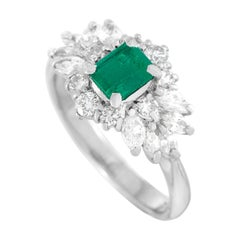 LB Exclusive Platinum 1.10 Ct Diamond and Emerald Ring