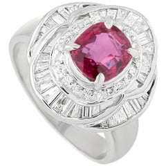 LB Exclusive Platinum 1.15 Carat Diamond and Ruby Ring