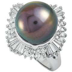 LB Exclusive Platinum 1.19 Ct Round and Tapered Baguette Diamonds and Pearl Ring