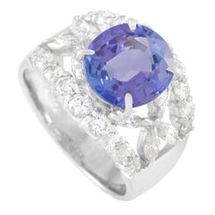 LB Exclusive Platinum 1.22 Carat Diamond and 3.07 Carat Tanzanite Ring