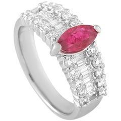 LB Exclusive Platinum 1.22 Carat Diamond and Ruby Ring
