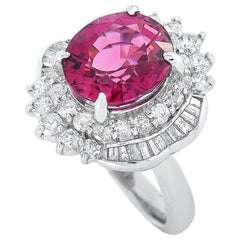LB Exclusive Platinum 1.23 Carat Diamond and Tourmaline Ring