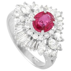 LB Exclusive Platinum 1.30 Carat Diamond and 1.08 Carat Ruby Ring