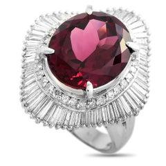 LB Exclusive Platinum 1.33 ct Diamond and Tourmaline Ring