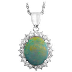 LB Exclusive Platinum 1.34 Carat Diamond and Black Opal Necklace