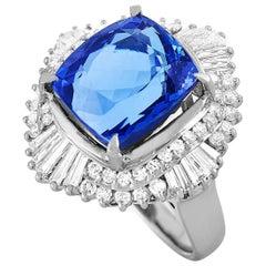 LB Exclusive Platinum 1.35 Carat Diamond and Tanzanite Ring