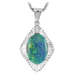 LB Exclusive Platinum 1.36 Carat Diamond and Black Opal Necklace