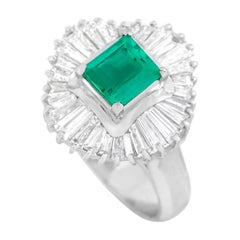 LB Exclusive Platinum 1.38 Ct Diamond and Emerald Ring