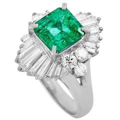 LB Exclusive Platinum 1.40 Carat Diamond and Emerald Ring