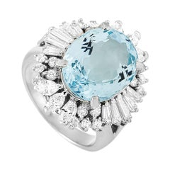 LB Exclusive Platinum 1.41 Carat Diamond and Aquamarine Ring