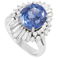 LB Exclusive Platinum 1.41 Carat Diamond and Sapphire Ring