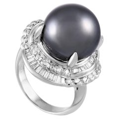 LB Exclusive Platinum 1.44 Carat Diamond and Pearl Ring