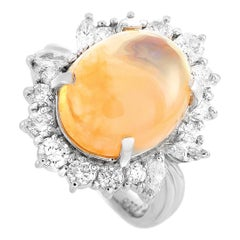 LB Exclusive Platinum 1.50 Carat Round and Marquise Diamonds and Opal Ring