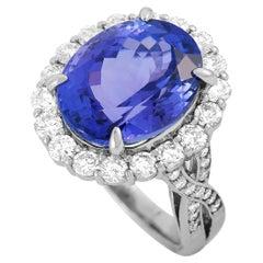 LB Exclusive Platinum 1.60 Carat Diamond and Tanzanite Ring