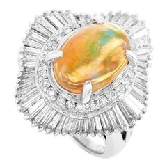 LB Exclusive Platinum 1.60 ct Round and Tapered Baguette Diamonds and Opal Ring
