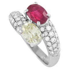 LB Exclusive Platinum 1.62 Ct Diamond and Ruby Ring