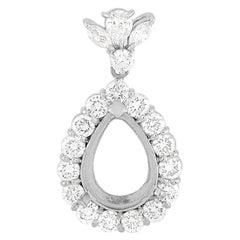 LB Exclusive Platinum 1.67 Ct Diamond Teardrop Mounting Pendant