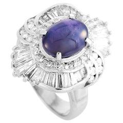 LB Exclusive Platinum 1.69 Carat Diamond and Sapphire Ring