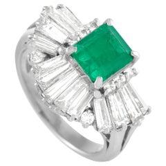 LB Exclusive Platinum 1.75 Ct Diamond and Emerald Ring