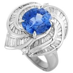 LB Exclusive Platinum 1.78 Carat Diamond and Sapphire Ring