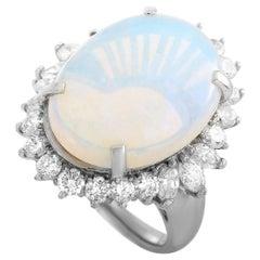 LB Exclusive Platinum 1.84 Carat Diamond and Opal Ring