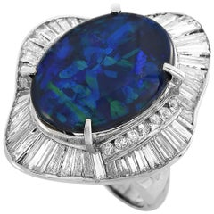 LB Exclusive Platinum 2.08 Carat Diamond and Opal Ring
