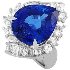 LB Exclusive Platinum 2.10 Carat Diamond and Tanzanite Ring
