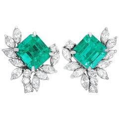 LB Exclusive Platinum 2.28 Carat Diamond and Emerald Earrings
