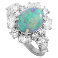LB Exclusive Platinum 2.32 Carat Diamond and Opal Ring