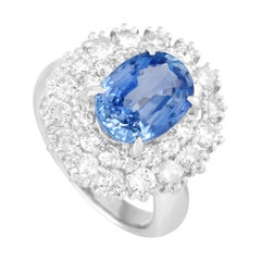 LB Exclusive Platinum 2.54 Ct Diamond and 4.16 Ct Sapphire Ring