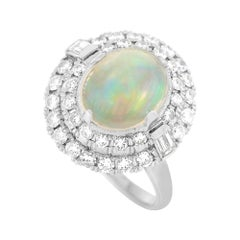 LB Exclusive Platinum 7.50 Ct Diamond and Opal Ring