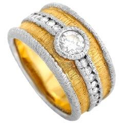 LB Exclusive Platinum and 18 Karat Yellow Gold 0.73 Carat Diamond Ring