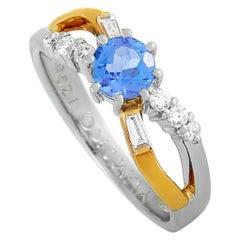 LB Exclusive Platinum and 18 Karat Gold 0.21 Carat Diamond and Tanzanite Ring