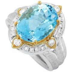 LB Exclusive Platinum and 18K Yellow Gold 0.35 Carat Diamond and Aquamarine Ring