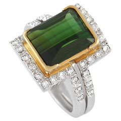 LB Exclusive Platinum and 18K Yellow Gold 0.45 Ct Diamond and 7.18 Ct Tourmaline