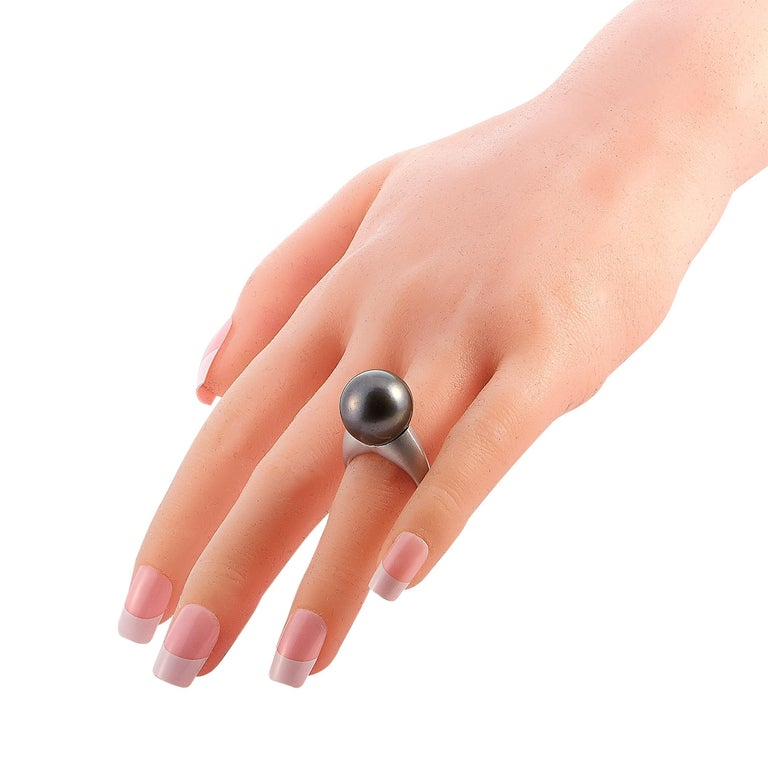 Women's LB Exclusive Platinum and Tahitian Pearl Ring For Sale