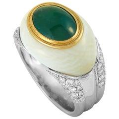 LB Exclusive Platinum Diamond, White Coral and Jade Ring