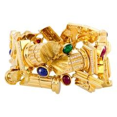 LB Exclusive Roman Ruins Diamond Emerald Sapphire and Ruby Yellow Gold Bracelet