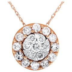 LB Exclusive Rose and White Gold 1.00 Carat VS1 G Color Diamond Pendant Necklace