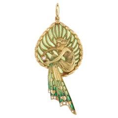 LB Exclusive Vintage 18K Yellow Gold Diamond and Enamel Pendant
