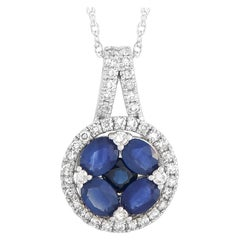 LB Exclusive White Gold 0.25 Carat Diamond and 1.00 ct Sapphire Pendant Necklace